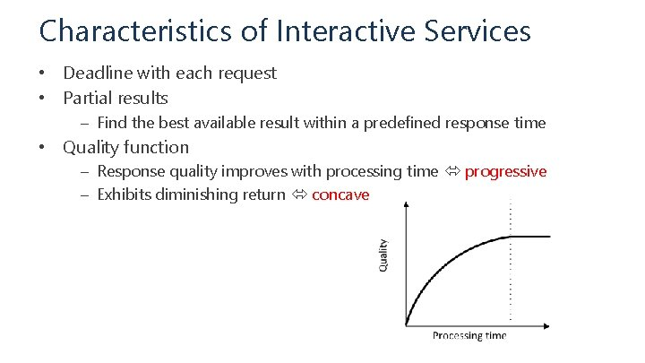 Characteristics of Interactive Services • Deadline with each request • Partial results – Find
