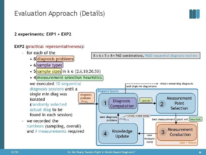 Evaluation Approach (Details) • 8 x 6 x 5 x 4 = 960 combinations,