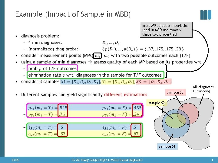 Example (Impact of Sample in MBD) • most MP selection heuristics used in MBD