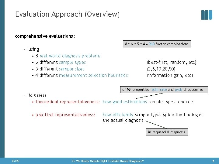 Evaluation Approach (Overview) comprehensive evaluations: 8 x 6 x 5 x 4 = 960