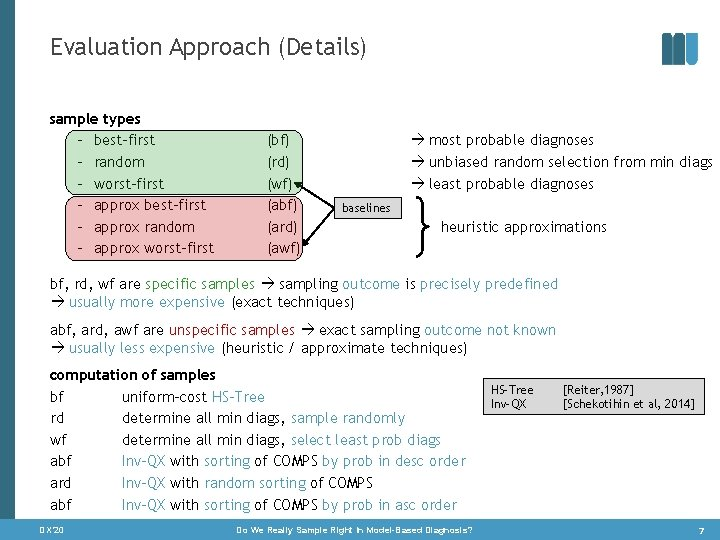 Evaluation Approach (Details) sample types – best-first – random – worst-first – approx best-first