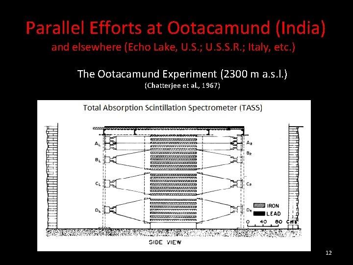 Parallel Efforts at Ootacamund (India) and elsewhere (Echo Lake, U. S. ; U.
