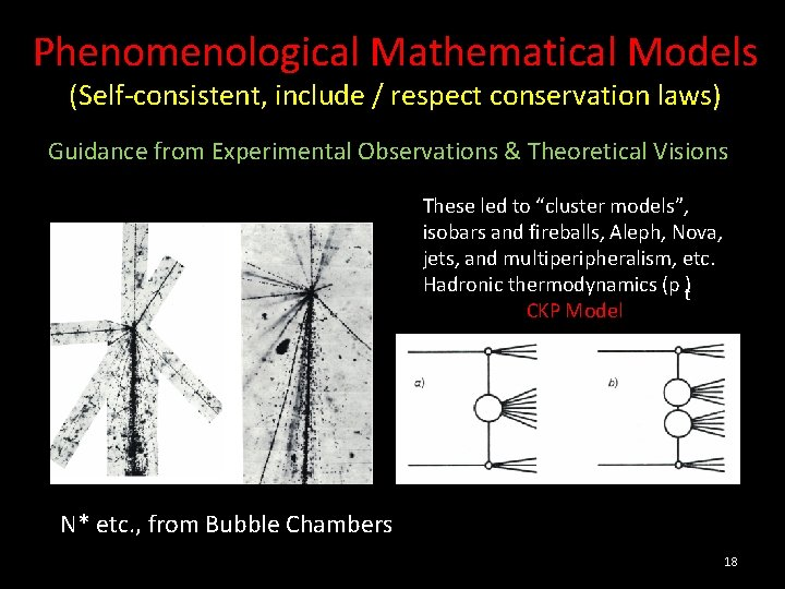 Phenomenological Mathematical Models (Self-consistent, include / respect conservation laws) Guidance from Experimental Observations &