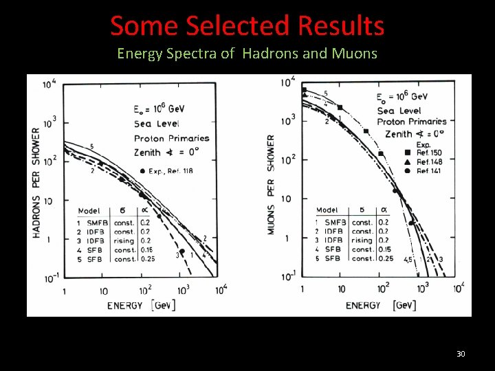Some Selected Results Energy Spectra of Hadrons and Muons 30