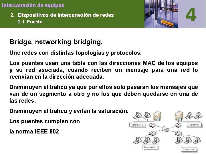 Interconexión de equipos 2. Dispositivos de interconexión de redes 2. 1. Puente Bridge, networking