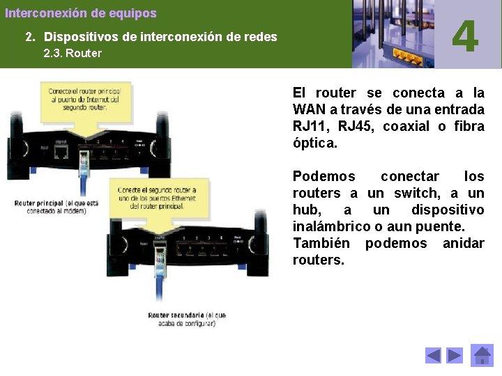 Interconexión de equipos 2. Dispositivos de interconexión de redes 2. 3. Router El router