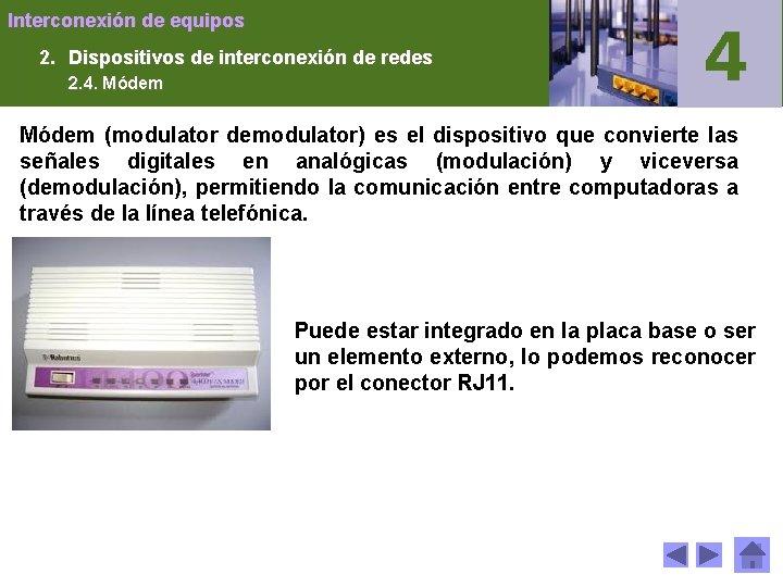 Interconexión de equipos 2. Dispositivos de interconexión de redes 2. 4. Módem (modulator demodulator)