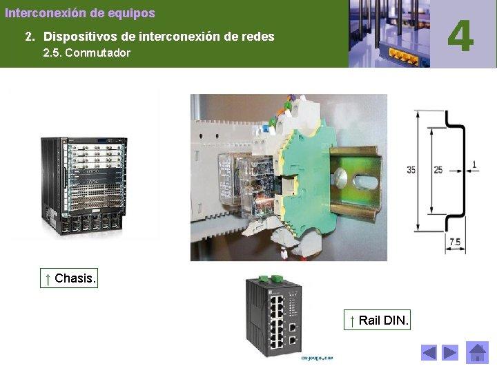 Interconexión de equipos 2. Dispositivos de interconexión de redes 2. 5. Conmutador ↑ Chasis.