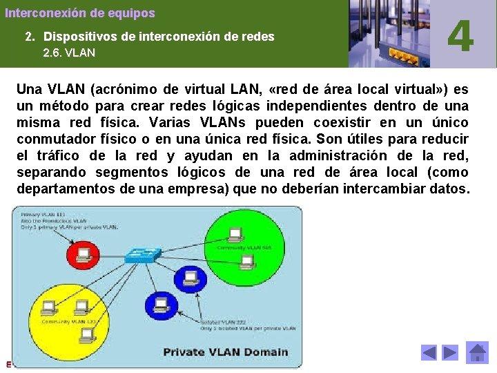 Interconexión de equipos 2. Dispositivos de interconexión de redes 2. 6. VLAN Una VLAN