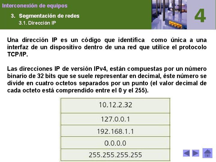 Interconexión de equipos 3. Segmentación de redes 3. 1. Dirección IP Una dirección IP