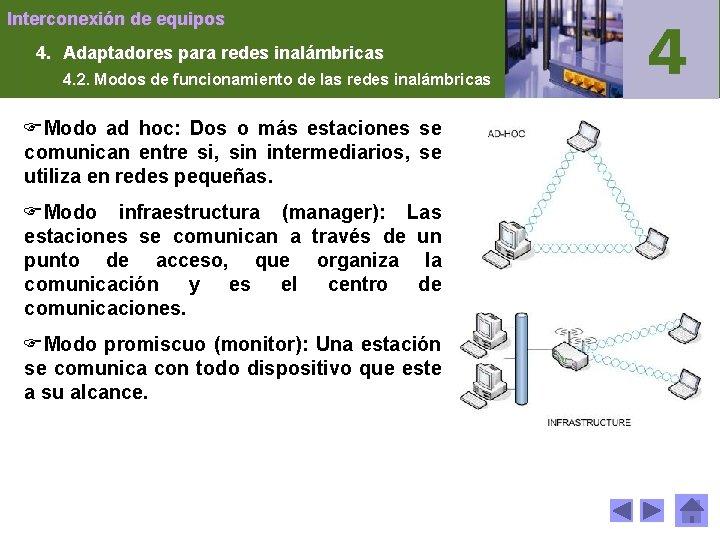 Interconexión de equipos 4. Adaptadores para redes inalámbricas 4. 2. Modos de funcionamiento de