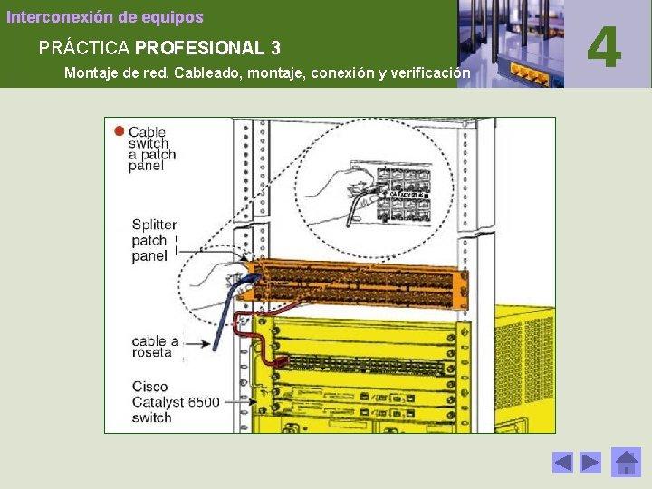 Interconexión de equipos PRÁCTICA PROFESIONAL 3 Montaje de red. Cableado, montaje, conexión y verificación