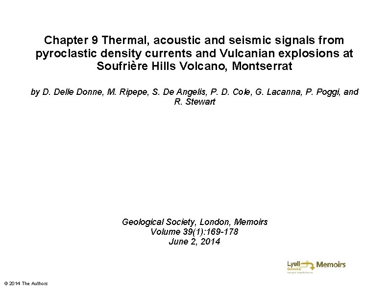 Chapter 9 Thermal, acoustic and seismic signals from pyroclastic density currents and Vulcanian explosions