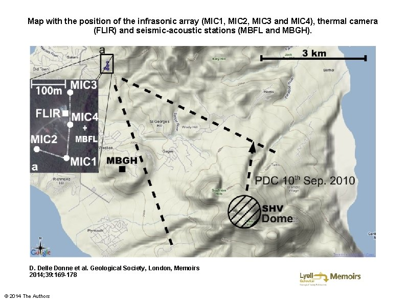 Map with the position of the infrasonic array (MIC 1, MIC 2, MIC 3
