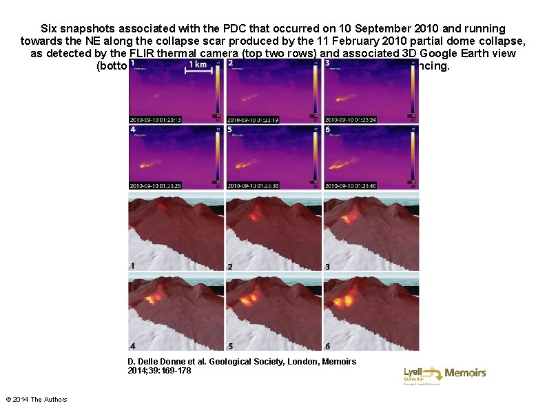 Six snapshots associated with the PDC that occurred on 10 September 2010 and running
