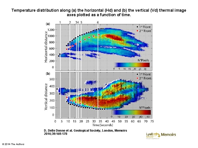 Temperature distribution along (a) the horizontal (Hd) and (b) the vertical (Vd) thermal image