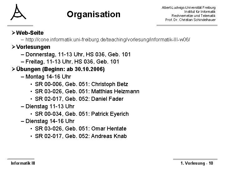 Organisation Albert-Ludwigs-Universität Freiburg Institut für Informatik Rechnernetze und Telematik Prof. Dr. Christian Schindelhauer ØWeb-Seite