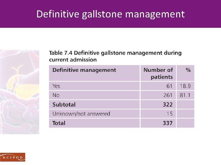Definitive gallstone management
