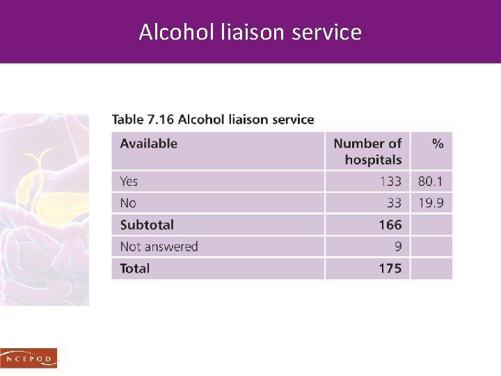 Alcohol liaison service