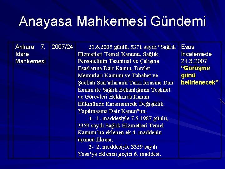 """Anayasa Mahkemesi Gündemi 21. 6. 2005 günlü, 5371 sayılı """"Sağlık Ankara 7. 2007/24 Hizmetleri"""
