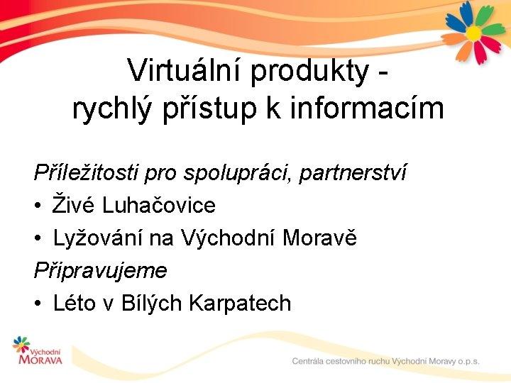 Virtuální produkty rychlý přístup k informacím Příležitosti pro spolupráci, partnerství • Živé Luhačovice •