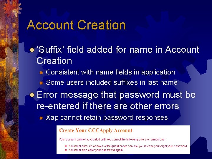 Account Creation ® 'Suffix' field added for name in Account Creation Consistent with name