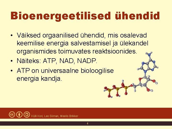 Bioenergeetilised ühendid • Väiksed orgaanilised ühendid, mis osalevad keemilise energia salvestamisel ja ülekandel organismides