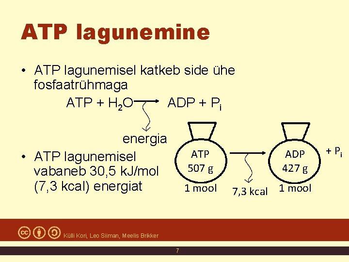 ATP lagunemine • ATP lagunemisel katkeb side ühe fosfaatrühmaga ATP + H 2 O