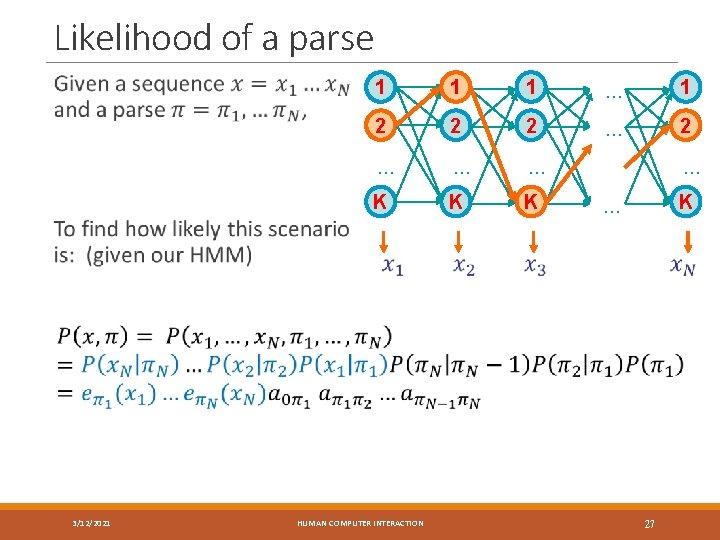 Likelihood of a parse 1 1 1 … 1 2 2 2 … …