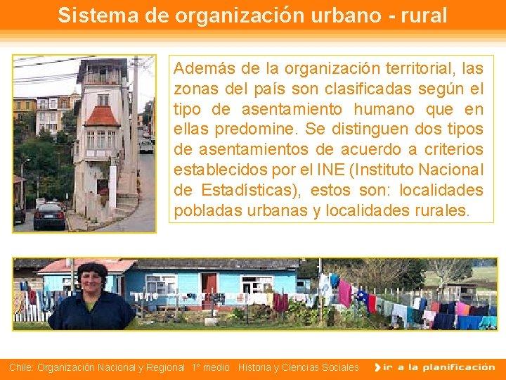 Sistema de organización urbano - rural Además de la organización territorial, las zonas del