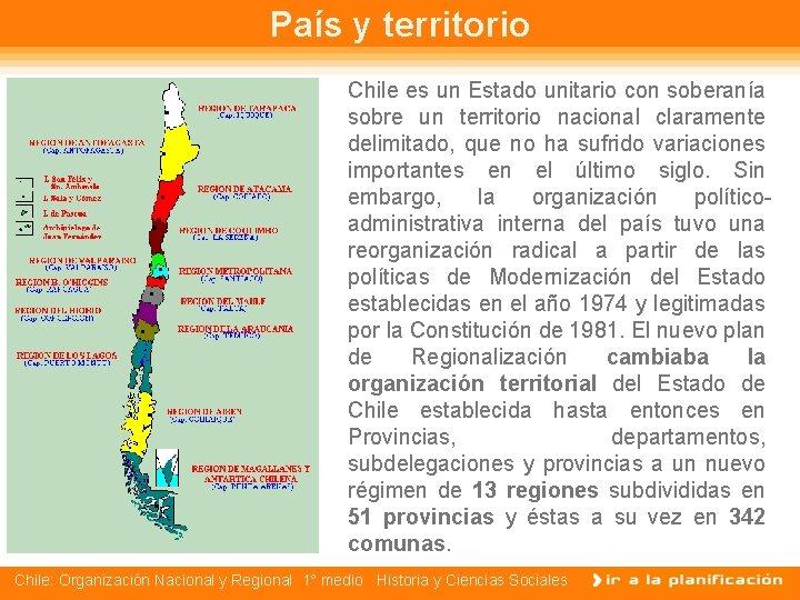 País y territorio Chile es un Estado unitario con soberanía sobre un territorio nacional