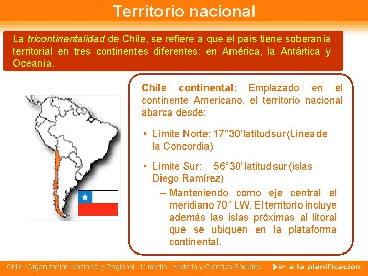 Territorio nacional La tricontinentalidad de Chile, se refiere a que el país tiene soberanía