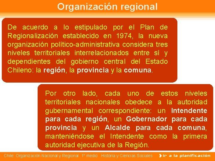 Organización regional De acuerdo a lo estipulado por el Plan de Regionalización establecido en