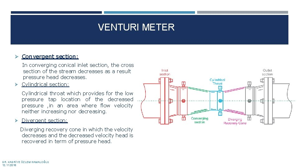 VENTURI METER Ø Convergent section: In converging conical inlet section, the cross section of