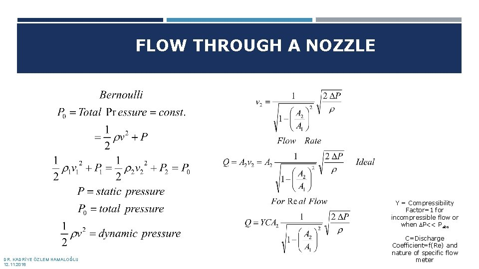 FLOW THROUGH A NOZZLE Y = Compressibility Factor=1 for incompressible flow or when DP<<