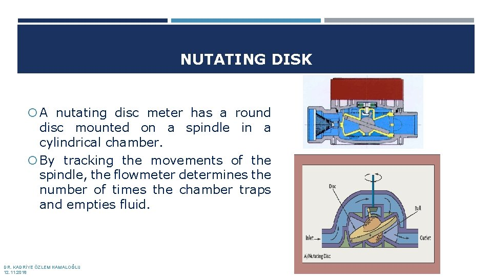 NUTATING DISK A nutating disc meter has a round disc mounted on a spindle