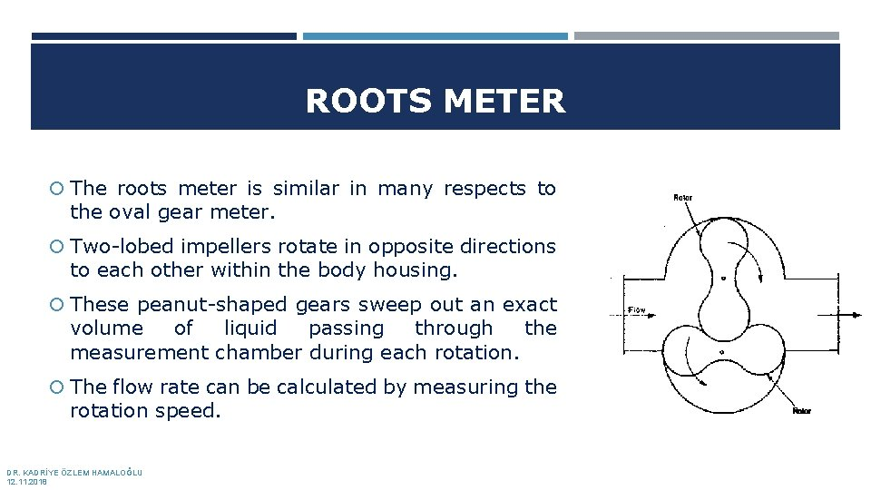 ROOTS METER The roots meter is similar in many respects to the oval gear