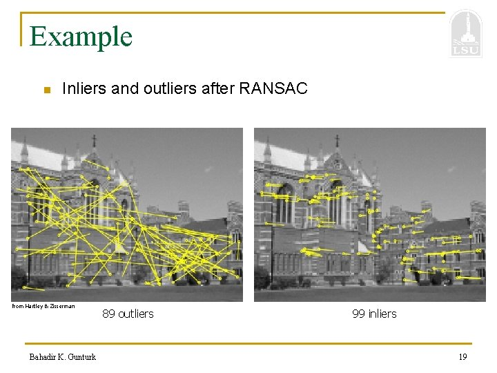 Example n Inliers and outliers after RANSAC from Hartley & Zisserman Bahadir K. Gunturk
