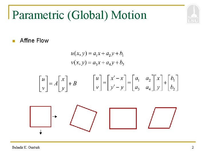 Parametric (Global) Motion n Affine Flow Bahadir K. Gunturk 2