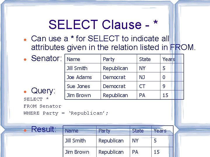 SELECT Clause - * Can use a * for SELECT to indicate all attributes