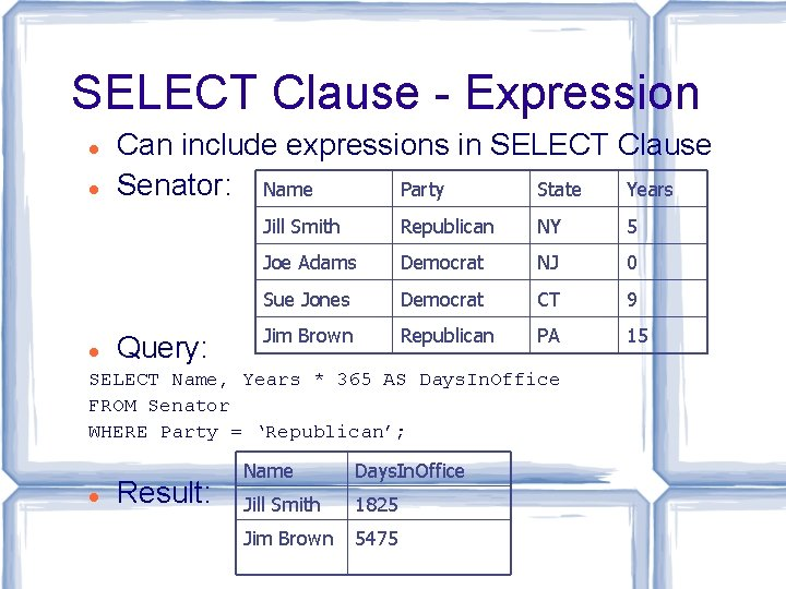 SELECT Clause - Expression Can include expressions in SELECT Clause Senator: Name Party State