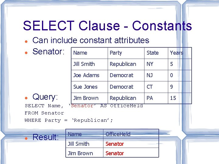SELECT Clause - Constants Can include constant attributes Senator: Name Party State Query: Result: