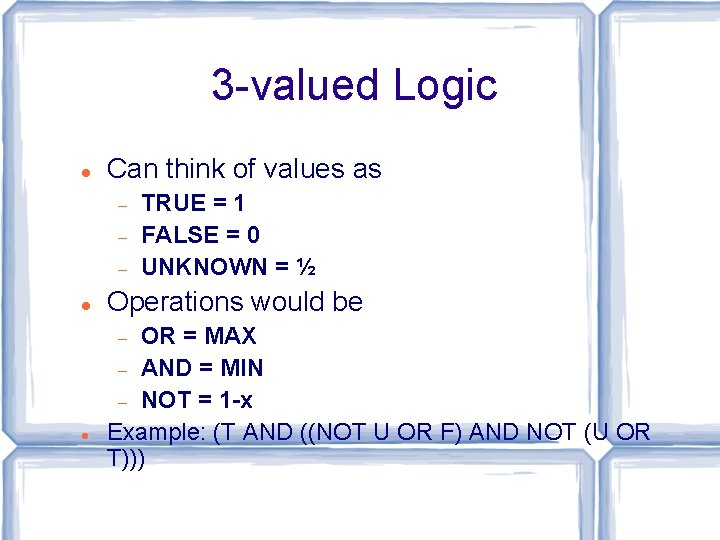 3 -valued Logic Can think of values as Operations would be OR = MAX