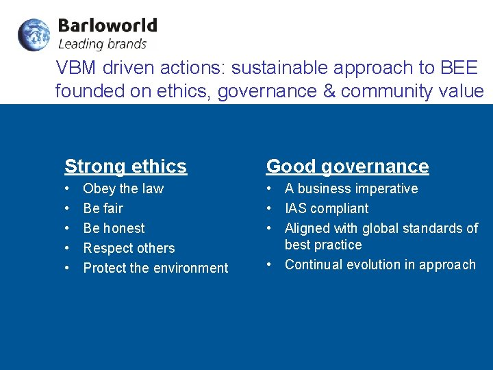 VBM driven actions: sustainable approach to BEE founded on ethics, governance & community value