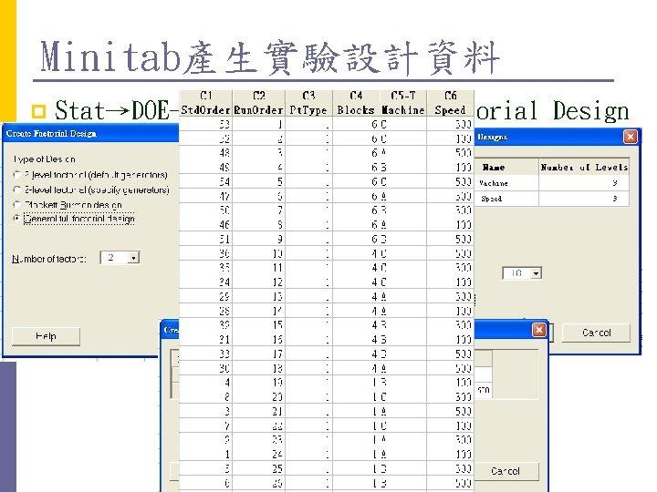 Minitab產生實驗設計資料 p Stat→DOE→Factorial→Create Factorial Design