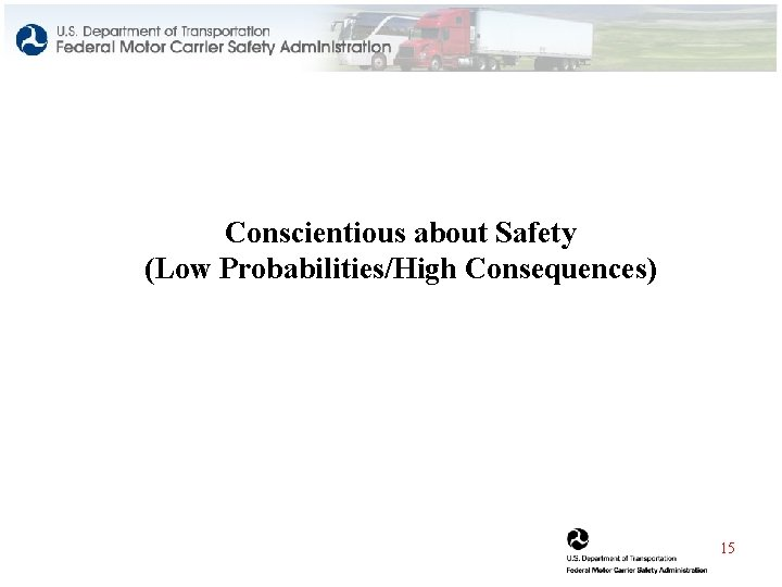 Conscientious about Safety (Low Probabilities/High Consequences) 15