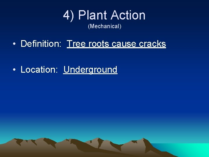4) Plant Action (Mechanical) • Definition: Tree roots cause cracks • Location: Underground