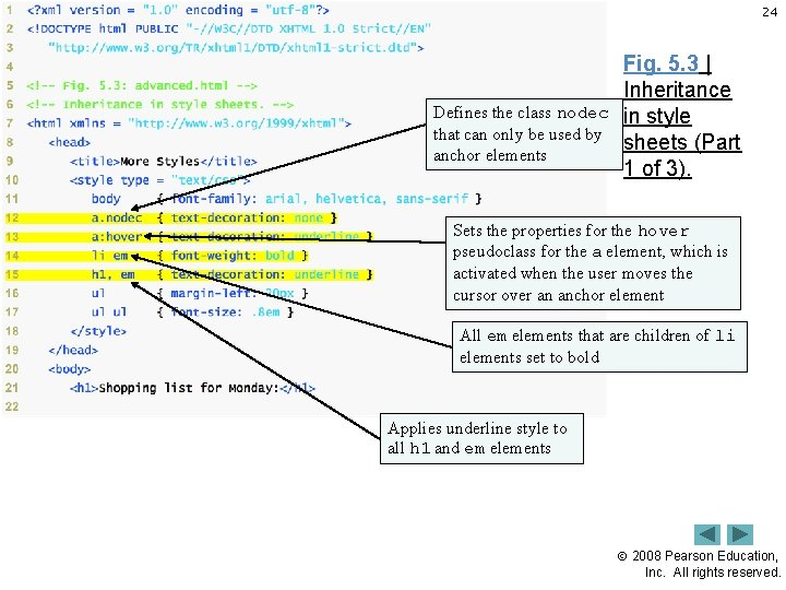 24 Defines the class nodec that can only be used by anchor elements Fig.