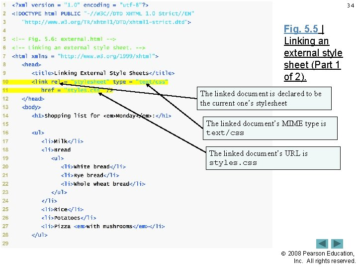 34 Fig. 5. 5   Linking an external style sheet (Part 1 of 2).