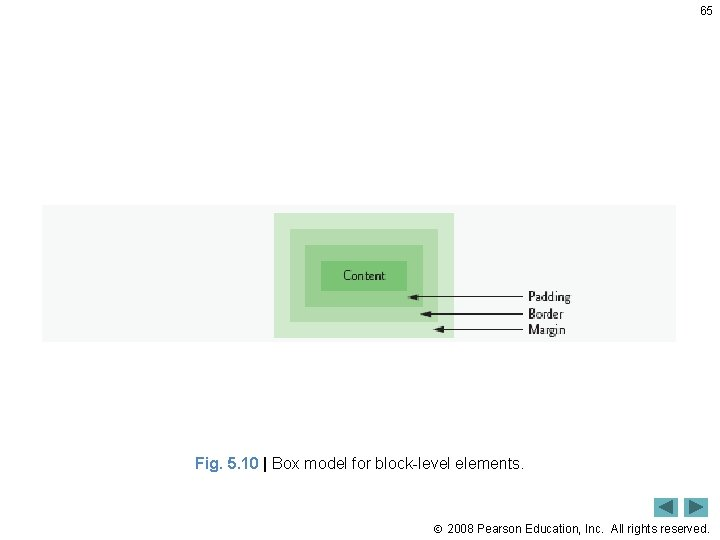 65 Fig. 5. 10   Box model for block-level elements. 2008 Pearson Education, Inc.